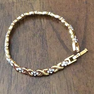 Gold tone and rhinestone bracelet
